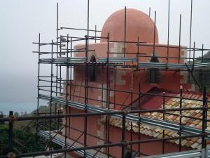 Particolare dopo della ristrutturazione della cupola tramite finitura a cocciopesto Magistra Heritage, formulata ad hoc in collaborazione con la Soprintendenza BBCCAA di Messina.