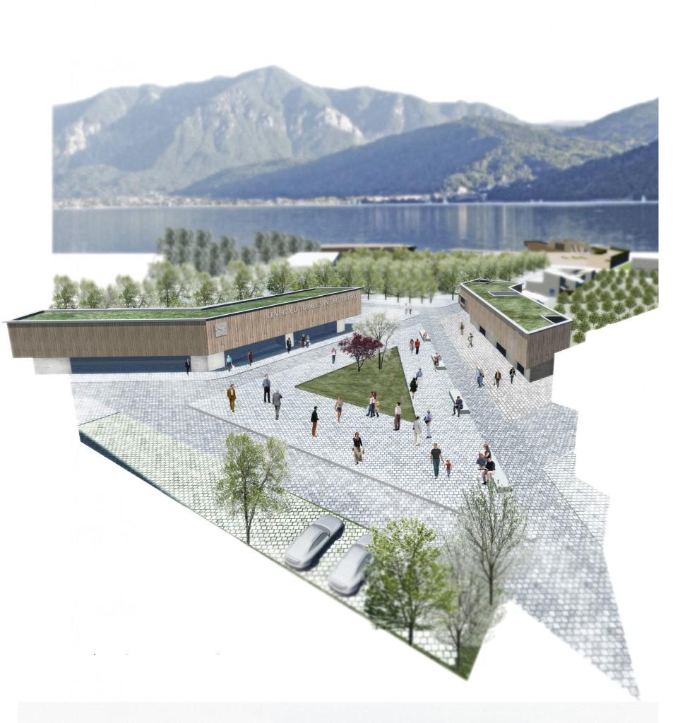 Riqualificazione territorio Pergine Valsugana (TN). Particolare della nuova piazza e del nuovo centro culturale.