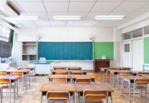 Un'aula in una scuola, esempio di edilizia scolastica